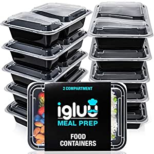 [10 Pack] 2 Compartment BPA Free Reusable Meal Prep Containers - Plastic Food Storage Trays with Airtight Lids - Microwavable, Freezer & Dishwasher Safe - Stackable Bento Lunch Boxes - Bonus eBook