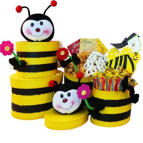 Art of Appreciation Gift Baskets Queen Bee Honey Bee Gift Tower of Snacks and Treats