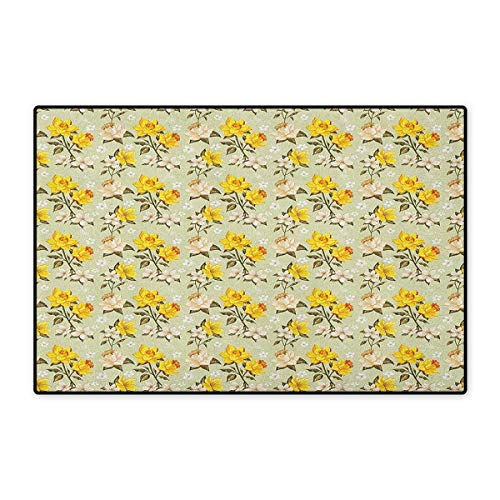 Vintage,Door Mat Non Slip,Narcissus Blossoms Little Wildflowers Green Leaves Classical Festive,Floor Mat for Tub,Yellow Cream Pale Green,Size,32