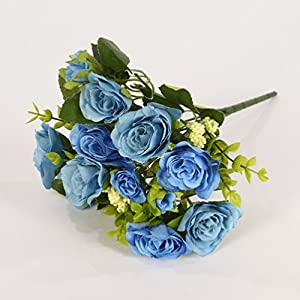 Artificial Flower 6 Branch per Bouquet Silk Small Rose with Leaves for Home Decor, 1 Piece of Flower, Blue 43