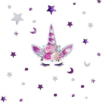 Amazon.com: KUYUE Pegatinas de Pared Desmontables Unicornio ...