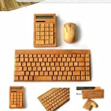 MC Wooden Natural Bamboo Wireless 2.4GHz Keyboard Mouse Solar Powered Calculator with 12 Digits (Keyboard+Mouse+Calculator)