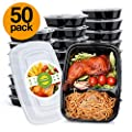 Glotoch 50pack 32ounce Food Storage Containers Set With Lid For Meal Prep And Portion Control In 2 Compartment Bento Box Microwaveable Freezer Dishwasher Safe