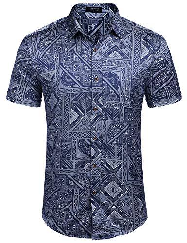 COOFANDY Men's Hawaiian Shirt Aloha Hawaii Shirt Printed Button Down Shirts (Blue XXL) ()