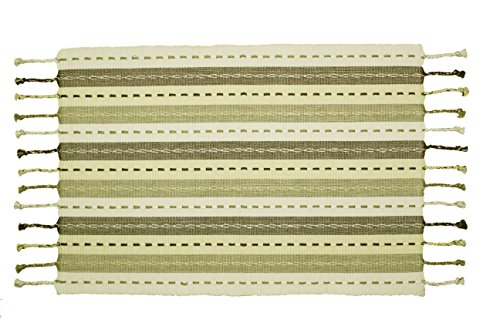 Cotton Craft - 4 Pack Salsa Stripe Hand Knotted Fringe Placemats - 13x19 - Natural Light Olive - 100% Cotton - Hand Woven by Skilled artisans - Unique Hand Knotted Decorative Fringe
