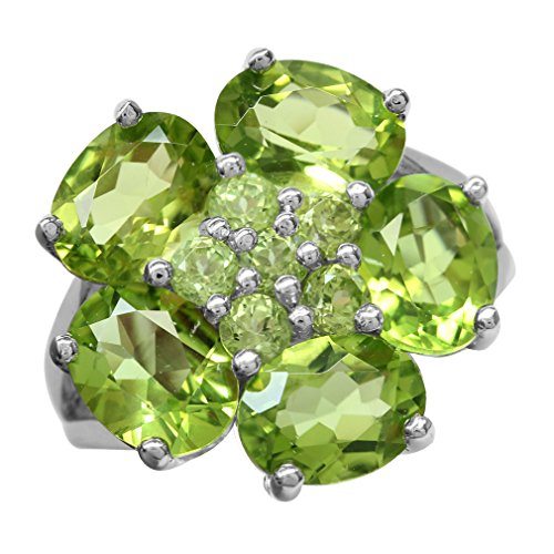 7.97ct. Natural Peridot White Gold Plated 925 Sterling Silver Flower Cluster Cocktail Ring Size 10