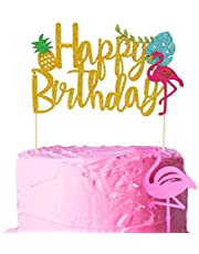 Salmuphy Flamingo Pineapple Cake Toppers Happy Birthday Picks Tropical Hawaiian Luau Themed Glitter Party Supplies