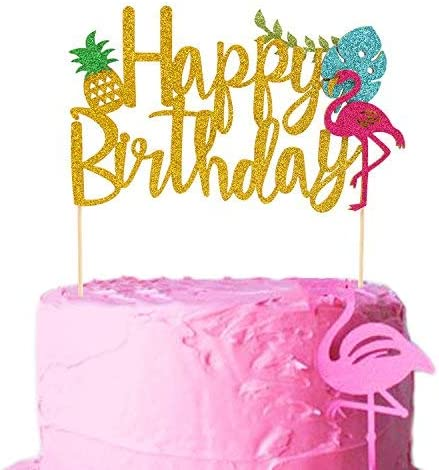 Amazon Com Flamingo Pineapple Cake Toppers Happy Birthday Cake Picks Tropical Hawaiian Luau Themed Glitter Party Supplies Decorations Big Kitchen Dining