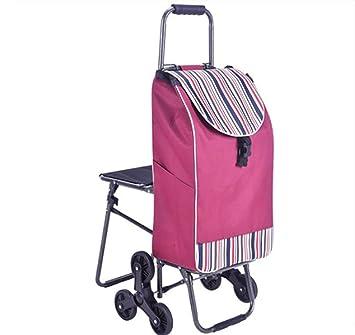 TRN Carretilla Carrito de Compras de Mano, Carro Ligero Plegable 6 sillas Redondas de Gran