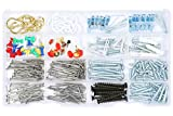 Wall hanging Assortment Kit, Brass plated hooks, white hooks, Picture Hangers, Thumb Tacks, Flanged Plastic Anchors with Screws and Nails, kitchen and office drawers Assortment 360 Pieces.