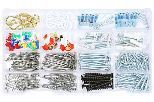 Wall hanging Assortment Kit, Brass plated hooks, white hooks, Picture Hangers, Thumb Tacks, Flanged Plastic Anchors with Screws and Nails, kitchen and…