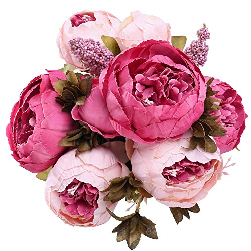StarLifey Silk Flowers Bridal Bouquet Beach Wedding Flower Bouquet Party Prom Wedding Girls Rose Bracelet Flower Décor (Dark Pink) (Peony Roses)