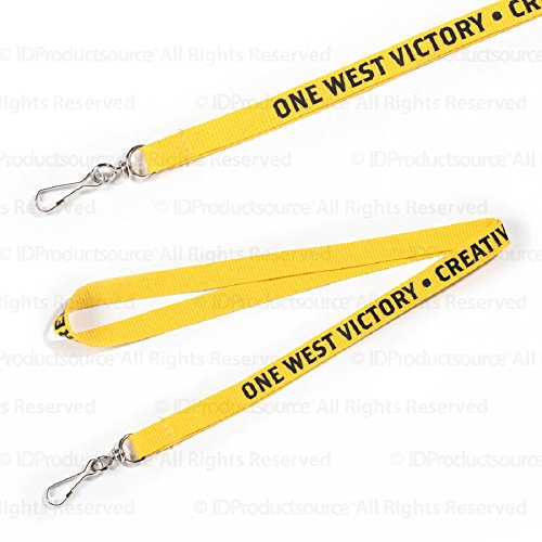 """100 Personalized 3/8"""" Lanyards Printed with Your Logo Or Message"""