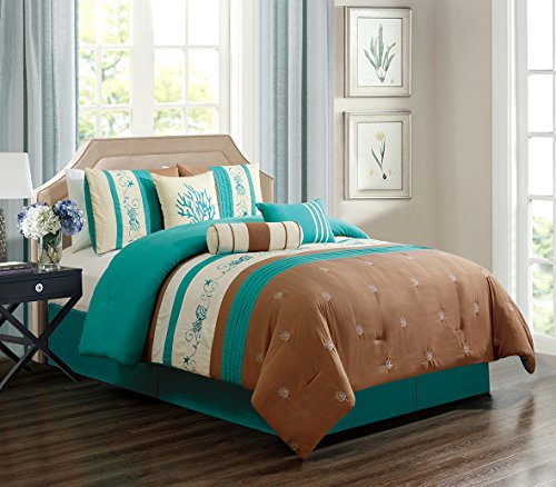 GrandLinen 5 Piece Turquoise Blue/Light Brown/Beige Tropical Coast, Seashell, Beach Embroidery Bed In A Bag Microfiber Comforter Set TWIN Size Bedding. Perfect For any Room