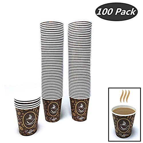 100 Pack Quality Disposable Paper Hot Coffee Cups, Perfect For Hot Drinks Tea & Coffee, Coffee Shops And Bars (8 oz, Coffee Bean Design Hot Cup) 8 Oz Hot Tea