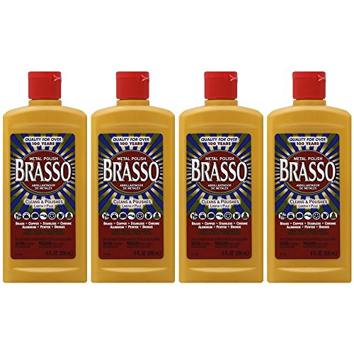 (Brasso Metal Polish, 8 oz Bottle for Brass, Copper, Stainless, Chrome, Aluminum, Pewter & Bronze (Pack of 4))