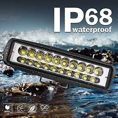 LED Light Bar, Wayup 2Pcs 80W 6 Inch LED Work Light Pods Spot Beam Off Road Driving Light Slim Dual Row Fog Light Waterproof for Trucks ATV UTV SUV Car Boat Golf Cart: Automotive