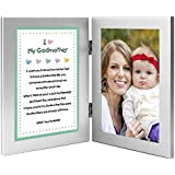 Baptism or Birthday Gift for Godmother - Sweet Godchild Poem From Godson or Goddaughter in Double Frame - Add 4x6 Photo