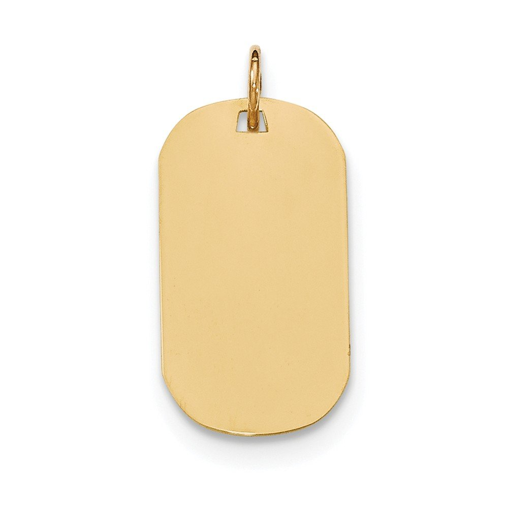 14K Solid Yellow Gold Plain .018 Gauge Engraveable Dog Tag Disc Charm