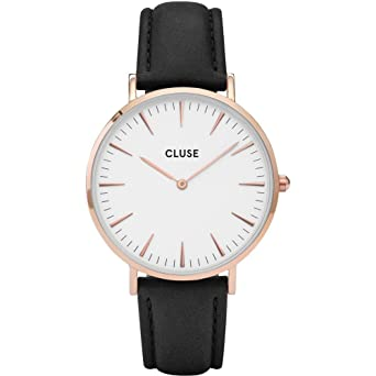 c038114889e CLUSE La Bohème Rose Gold White Black CL18008 Women s Watch 38mm Leather  Strap Minimalistic Design Casual