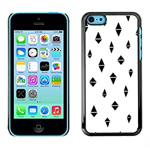 FECELL CITY // Duro Aluminio Pegatina PC Caso decorativo Funda Carcasa de Protección para Apple Iphone 5C // White Minimalist Pattern Black