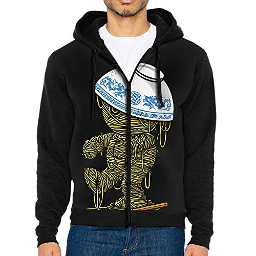 OOD2IHO Ramen Mummy Cute Men's Custom Full-Zip Hoodie with Pocket Sweatshirts Jackets -