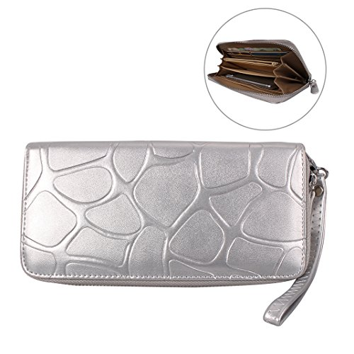 Card Wrist Luxury Coins Purse Lady Zipper Fashion for Pouch Holder Handbag Slots HuaForCity Pattern with Wallet Pouch Women Case Large and Capacity Arm Stone PU Strap Soft Leather Silver for Phone 5in 5 Card wSxHZqzf