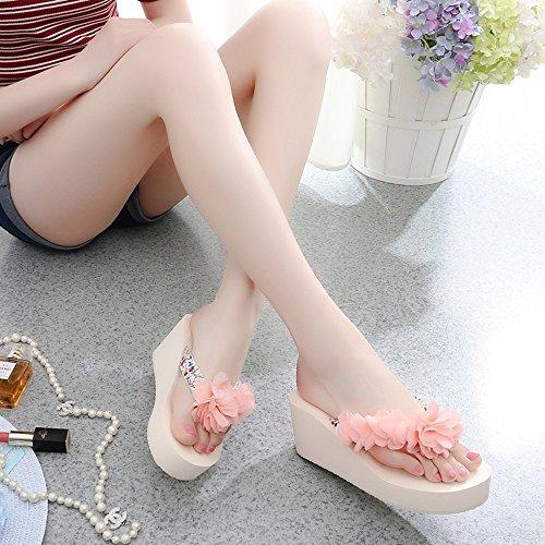 CHANCLAS SANDALS Pantuflas de los deslizadores de la manera Zapatos femeninos de los altos talones de la playa Sandalias con 5 colores para 18-40 años elegante ( Color : 1001 , Tamaño : 35 ) 1001