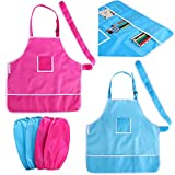 NUOLUX Kids Waterproof Aprons with Pockets Painting Craft Aprons and Oversleeves,2pcs
