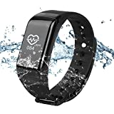 WinBridge A77 Smart Watch Waterproof IP67 Fitness Tracker with Heart Rate Monitor Sports Bracelet Compatible with Android and iOS for Hiking Outdoor Sports Gym Exercise (Black)
