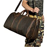 Le'aokuu Mens Genuine Leather Travel Luggage Duffly Gym Carry on Tote Bags (Light Brown)
