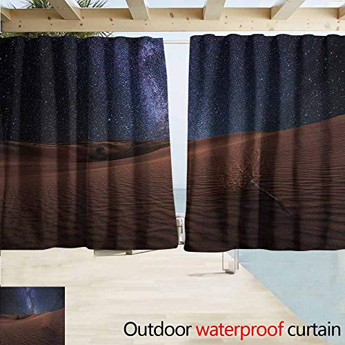 Rod Pocket Curtains,Space Life on Mars Themed Surreal Surface of Gobi Desert Dune Oasis Lunar Adventure Photo,Darkening Thermal Insulated Blackout,W55x63L Inches,Brown Blue ()