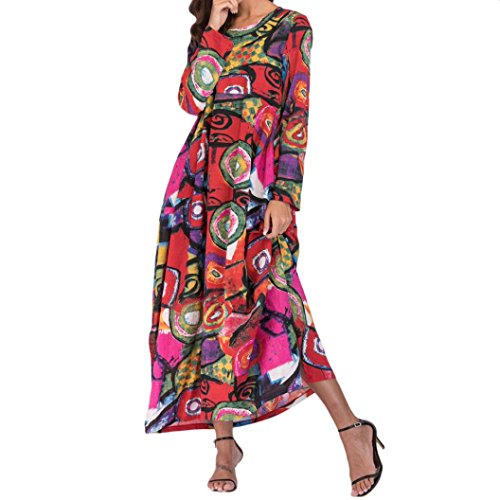 Vestidos Verano con Manga Corta De Mujer Elegante Los Bolsillos Largos Flojos Bohe Lino Manga Larga Visten Kaftan Floral Rojo