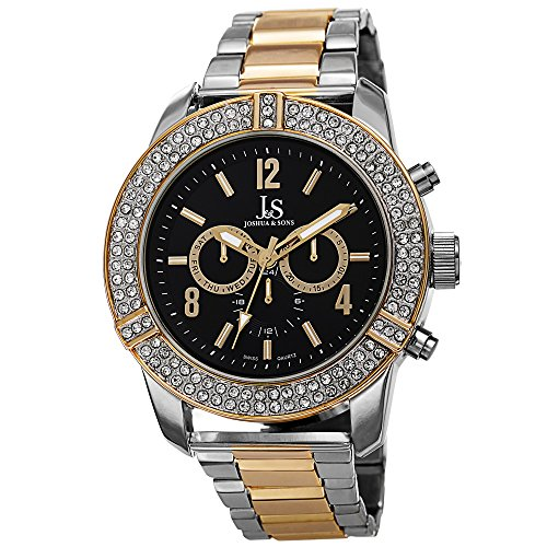 Joshua & Sons Men's JS81TTG Silver and Yellow Gold Multifunction Swiss Quartz Watch with Crystal Accented Bezel and Black Dial With Two Tone Bracelet