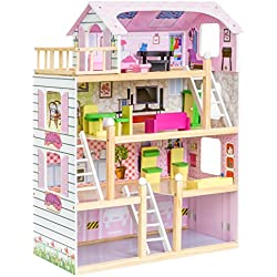 Best Choice Products 4-Level 32.25in Kids Wooden Cottage Uptown Dollhouse w/ 13 Pieces of Furniture, Play Accessories - Pink