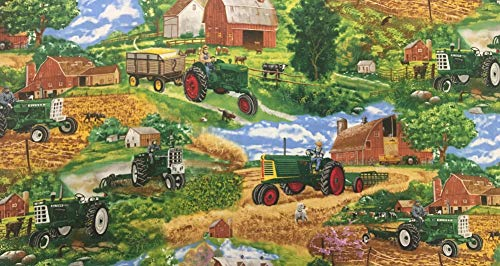 Farm Scene Green Tractor - Oliver Tractor Fabric, Farm Scene, Sold by The Yard