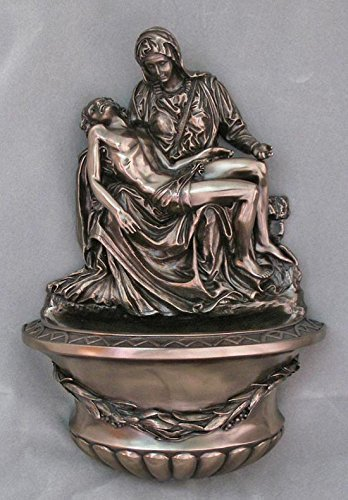 Hail Mary Gifts A Beautiful Pieta Holy Water Font in a Cold-cast Bronze, 10
