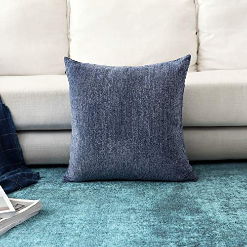 Home Brilliant Decorative Throw Pillow Covers Large Cushion Covers for Sofa Bed Living Room, 26x26 inch (66cm), Dark Blue from Home Brilliant