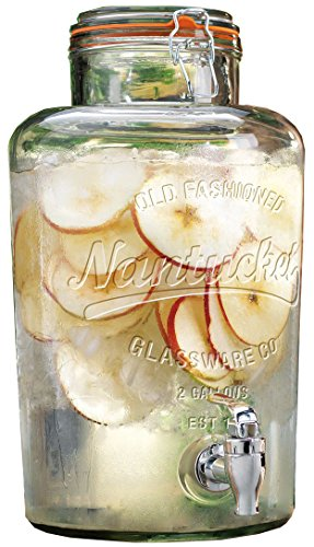 Palais Glassware Clear Glass Beverage Dispenser with Bail & Trigger Locking Lid - 2 Gallon ('Nantucket' Embossed)