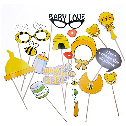 Fengirl Baby Yellow small Bee Photo Booth props kit on the Sticks Set of 17pcs