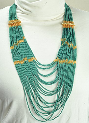 Seed Beads Multi-Strand Necklace Olive greeen Handcrafted Czech Glass Beaded Strand Necklace
