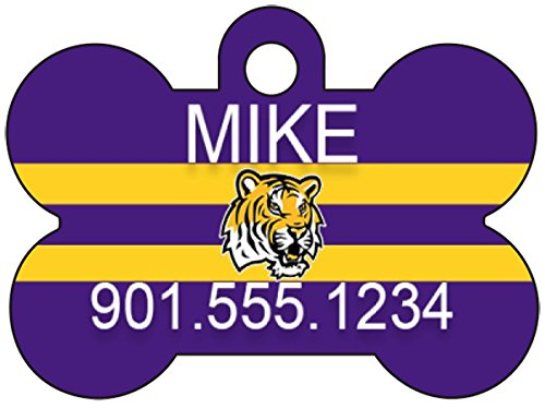 LSU Tigers Pet Id Tag for Dogs & Cats Personalized w/ Name & Number