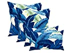 Set of 4 Indoor/Outdoor Pillows - 17'' Square Throw Pillows & Rectangle/Lumbar Decorative Throw Pillows - Made with Tommy Bahama Swaying Palms - Escape Blue Fabric