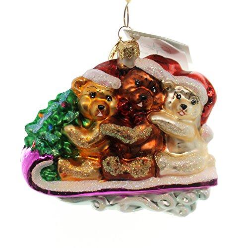 - Christopher Radko TEDDY TOBOGGAN Glass Christmas Sled 0101470