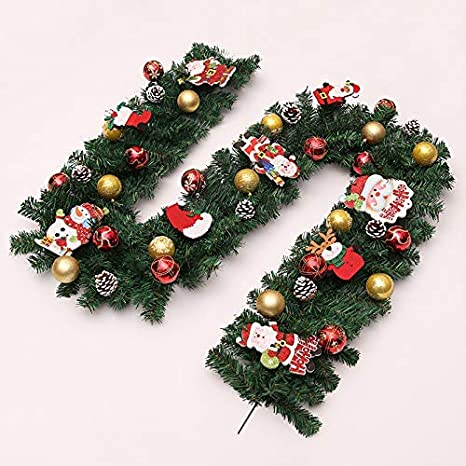 JALAL Decoraciones de guirnaldas de Navidad, 2.7M Chimeneas Escaleras Guirnaldas Decoradas Guirnalda de 8 Modos Batería Luces LED Bolas iluminadas Bola de Flores Árbol de Navidad Decoración Festiva: Amazon.es: Deportes y aire