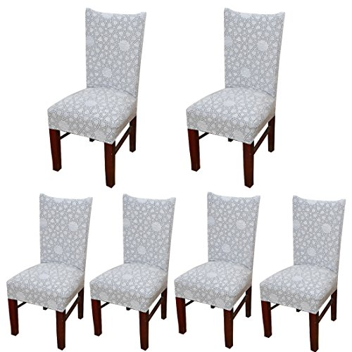 Deisy Dee Stretch Chair Cover Removable Washable for Hotel Dining Room Ceremony Chair Slipcovers Pack of 6 (G) (Chair Folding Slipcover)