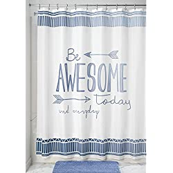 "mDesign Be Awesome Fabric Shower Curtain, 72"" x 72"" - Blue/White"