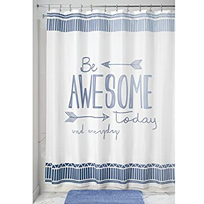 "mDesign Be Awesome Fabric Shower Curtain, 72"" x 72"" - Blue/White - Be Awesome Fabric Shower Curtain is quick-drying and mold and mildew-resistant Easy care: machine wash cold, tumble dry low Features 12 button holes for easy hanging; Use as a standalone curtain or as a liner - shower-curtains, bathroom-linens, bathroom - 51fDmxonK%2BL. SS400  -"