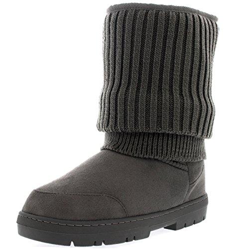 Mujer Cardy De Punto Corta Invierno Lluvia Al Aire Libre Zapato Botas Gris De Punto
