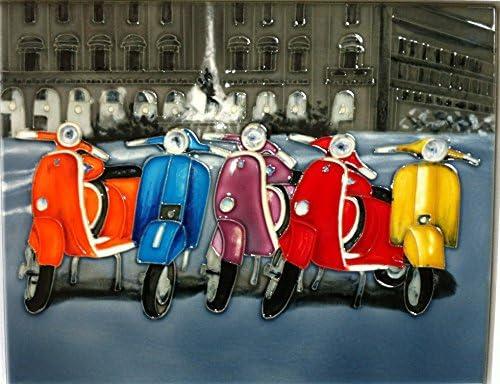 Carreaux YH-Arts Vespa Parade en c/éramique Multicolore 11/x 35,6/cm